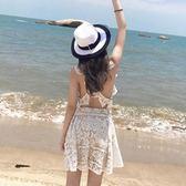 露背洋装 海邊度假沙灘裙白色蕾絲露背度假吊帶裙性感連身裙露肩短裙