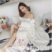 秋冬季女士法蘭絨睡衣性感長款裹胸睡袍兩件套裝可愛抹胸睡裙浴袍 居家物語