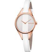 Calvin Klein CK Rebel 極簡雙針手錶-玫瑰金框x白/29mm K8P236L6