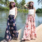 碎花闊腿褲裙女夏季海邊度假九分沙灘褲寬鬆印花雪紡長褲 褲裙