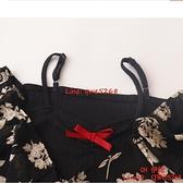 DuForm2021新款設計感假兩件上衣復古小碎花系帶疊穿露肩襯衫【CH伊諾】