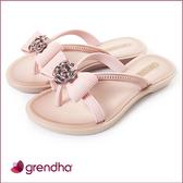 GRENDHA 晶鑽玫瑰蝴蝶結夾腳鞋-女童-玫瑰金