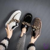 豆豆鞋  毛毛鞋女外穿時尚潮鞋2019年新款秋冬季保暖豆豆鞋加絨一腳蹬棉鞋 點點服飾