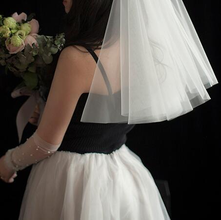 小頭紗遮面紗簡潔婚紗新款配飾