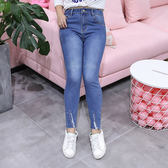 中大尺碼~毛邊設計氣質牛仔褲(XL~4XL)