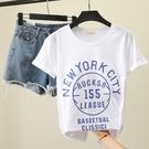 時尚字母印花竹節棉短袖夏季新款寬鬆休閒圓領t恤女黑色打底衫潮 薇薇