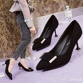 歐美時尚中跟女鞋2019春秋新款細跟尖頭方扣高跟鞋淺口氣質單鞋子 漾美眉韓衣