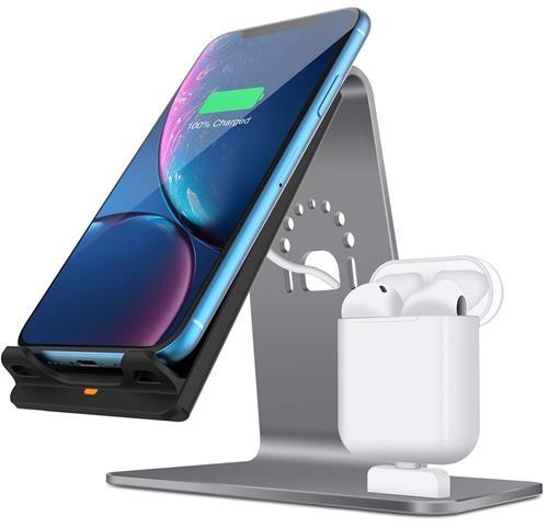 【美國代購】2合1鋁製Airpods充電站 適用於iPhone X / 8 Plus / 8 / Samsung Qi快速無線充電器底座 灰色