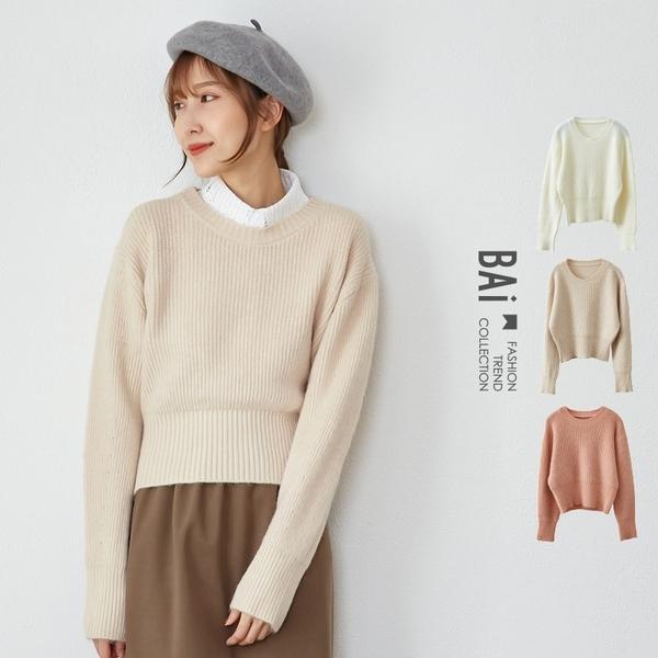 毛衣 純色直坑條紋柔軟親膚短版上衣-BAi白媽媽【301904】