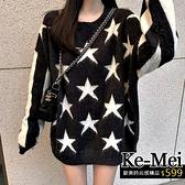 克妹Ke-Mei【ZT62811】chic復古慵懶風星星撞色圖騰毛海毛衣洋裝