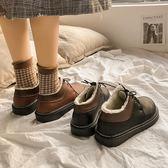 皮鞋 冬季小女學生正韓百搭英倫風加絨棉鞋-新主流