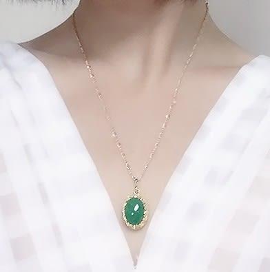 [協貿國際]天然東陵玉鑲嵌橢圓形吊墜鍍24K金鍊單條價