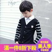 男大童春裝新款男童長袖襯衫春秋兒童襯衣小男孩假兩件T恤潮-『美人季』
