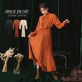 長袖 洋裝 Space Picnic|中山領排扣百摺洋裝-附綁帶(預購)【C19103057】