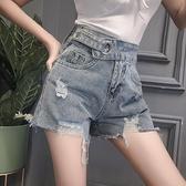 牛仔短褲 2021年春季新款時尚褲子氣質高腰百搭寬松闊腿薄款牛仔超短褲女裝