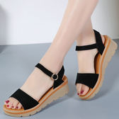39碼/黑色 坡跟厚底涼鞋 女平底真皮羅馬鞋