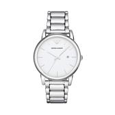 【Emporio Armani】美式經典簡約風時尚鋼帶腕錶-亮眼銀/AR1854/台灣總代理公司貨享兩年保固