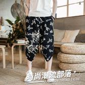 夏季七分褲民族中國風亞麻花褲子男士寬松休閒褲加肥加大碼潮胖人