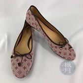 BRAND楓月 LOUIS VUITTON LV 粉紅色 原花 帆布 蝴蝶結裝飾 娃娃鞋 平底鞋 #36.5