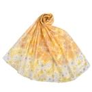 NINA RICCI滿版花卉抗UV純綿薄圍巾(黃色)989403-B