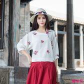 新款棉麻提花寬松七分袖燈籠袖刺繡大碼女T恤衫