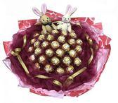 娃娃屋樂園~33朵金莎送2隻兔子(網紗)特色花束 每束1200元/情人節花束/情人節禮物/教師節花束