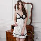 性感睡衣 大尺碼 純靜雪白柔緞睡衣  -邱比特情趣用品