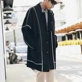 冬季麂皮絨帥氣立領風衣韓版寬鬆外套大衣男中長款