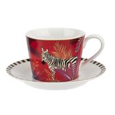 英國Sara Miller 大溪地Tahiti系列200ml杯盤組-斑馬(附原廠禮盒)