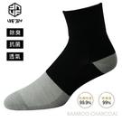 [UF72] elf除臭竹炭網狀足弓寬口無痕休閒襪UF1344-灰黑24-26