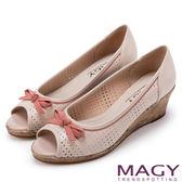 MAGY 甜心女孩 皮革蝴蝶結魚口楔型鞋-粉紅