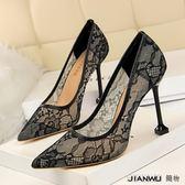 拼色蕾絲鏤空婚鞋伴娘鞋尖頭細跟女單鞋高跟鞋