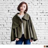OrangeBear《EA1391》毛呢翻領x立領寬擺袖罩衫/斗篷外套.2色--適 2L~6L