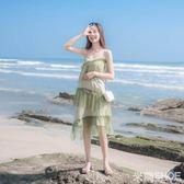 無袖洋裝 法式復古裙山本過膝很仙網紗仙女性感吊帶連身裙