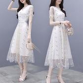 赫本風雪紡洋裝女裝2021新款潮夏季網紗小白裙修身顯瘦碎花裙子 蘇菲小店