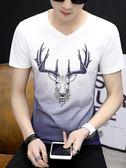 2018新款男士短袖T恤V領潮流半截袖夏季男裝韓版修身體恤上衣服土 依凡卡時尚