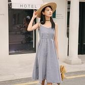 吊帶裙-格紋時尚清新優雅高腰女背帶裙2色73rx54【巴黎精品】