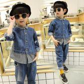 童裝男童套裝寶寶韓版長袖帥氣牛仔兩件兒童潮衣