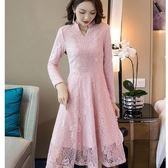 美之札[98701-QF]優雅小立V領花邊蕾絲加絨加厚保暖款長袖洋裝