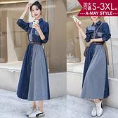 加大碼外套-時髦拼接條紋顯瘦牛仔連身裙/洋裝(S-3XL)
