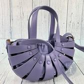 BRAND楓月 Bottega Veneta BV 紫色 半圓 簍空 皮革肩背包 手提包 THE SHELL SMALL