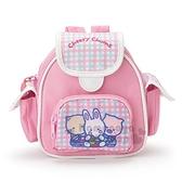 〔小禮堂〕凱莉兔 書包造型尼龍拉鍊化妝包《粉》收納包.萬用包.復古學園系列 4901610-08549