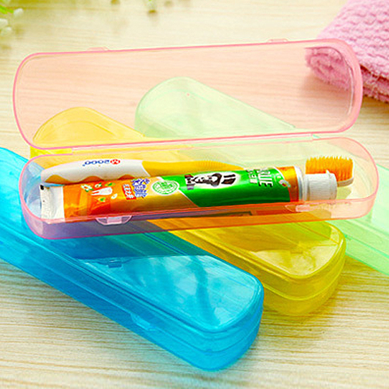果凍色洗漱收納盒 牙刷 牙膏 旅行 餐具 筷子 湯匙 叉子 便攜 卡扣 瀝水【G044】 米菈生活館