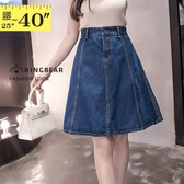 牛仔裙--韓版優雅百搭顯瘦修身牛仔中長高腰及膝八片牛仔裙(藍S-5L)-Q86眼圈熊中大尺碼◎