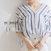 IN' SHOP極簡撞色V領排釦襯衫-共3色【KT220918】