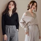 MIUSTAR 蕾絲交疊V領彈力針織上衣(共3色)【NH2426】預購