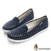 Hush Puppies 十字繡咖啡紗摩卡娃娃鞋-深藍