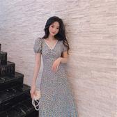 【藍色巴黎 】韓國蕾絲V領抓皺碎花短袖洋裝【28907】