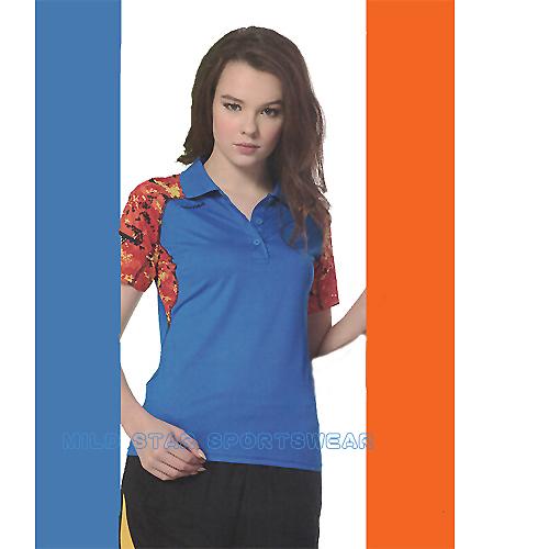 MILD STAR 女版吸濕排汗印花圖騰短POLO衫-寶藍橘#LS801466