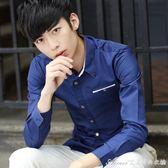 襯衫 春季條紋長袖襯衫男士韓版商務休閒印花襯衣潮男裝白色修身型衣服 艾美時尚衣櫥